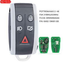 KEYECU Smart REMOTE Key 315MHz/433MHz PCF7953A 5 ปุ่มสำหรับJaguar XF XFR XK XKR 2009 2010 2011 2012 2013   FCC:KR55WK49244
