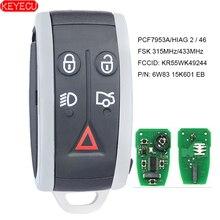 KEYECU llave remota inteligente, 315MHz/433MHz, PCF7953A, 5 botones para Jaguar XF XFR XK XKR 2009 2010 2011 2012 2013   FCC:KR55WK49244