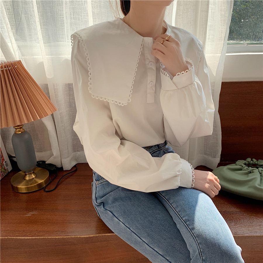 H3bf8b0e4efc24891b8e793d03f9470f08 - Spring / Autumn Puritan collar Long Sleeves Solid Blouse
