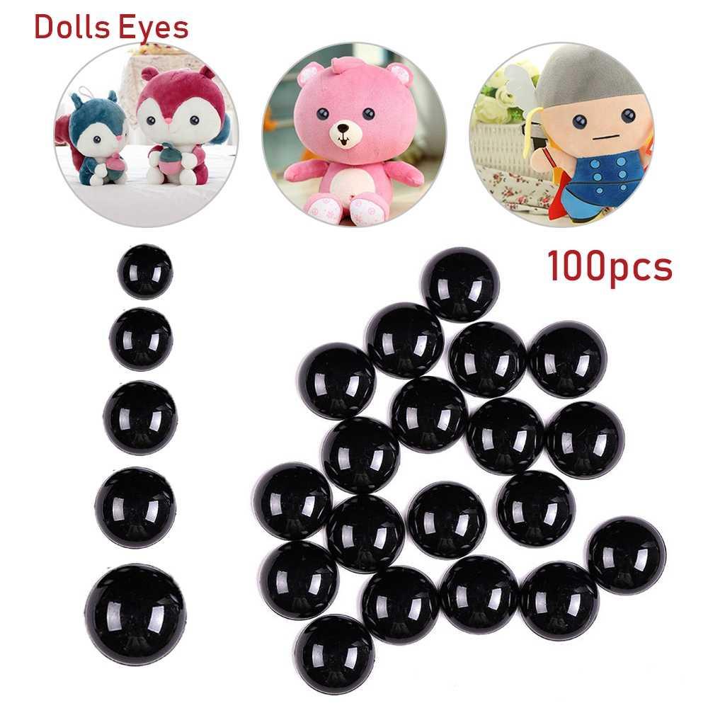 100 قطعة سلامة الأسود البلاستيك عيون للدب دمى الحيوانات دمية الحرف الأطفال الاطفال DIY لعب 3-12 مللي متر عيون الدمى اكسسوارات