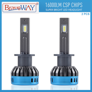 BraveWay LED Bulbs for Car Headlights Auto Lamps H1 H4 H8 H11 9005 HB3 9006 HB4 H7 LED H1 16000LM 6500K 50W 12V 24V Fog Lights 12v 24v relay harness control cable for h4 hi lo hid bulbs wiring controller