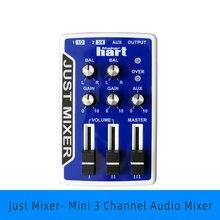 Just bat خلاط صوت ، جهاز مزج صوت صغير 3 قنوات ، محمول ، يعمل بالبطارية