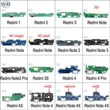 Юйси микрофон модуль+ USB плата с зарядным портом гибкий кабель Разъем для Xiaomi Redmi 1 2 3 4 Note 2 3 Pro 4 4X Замена