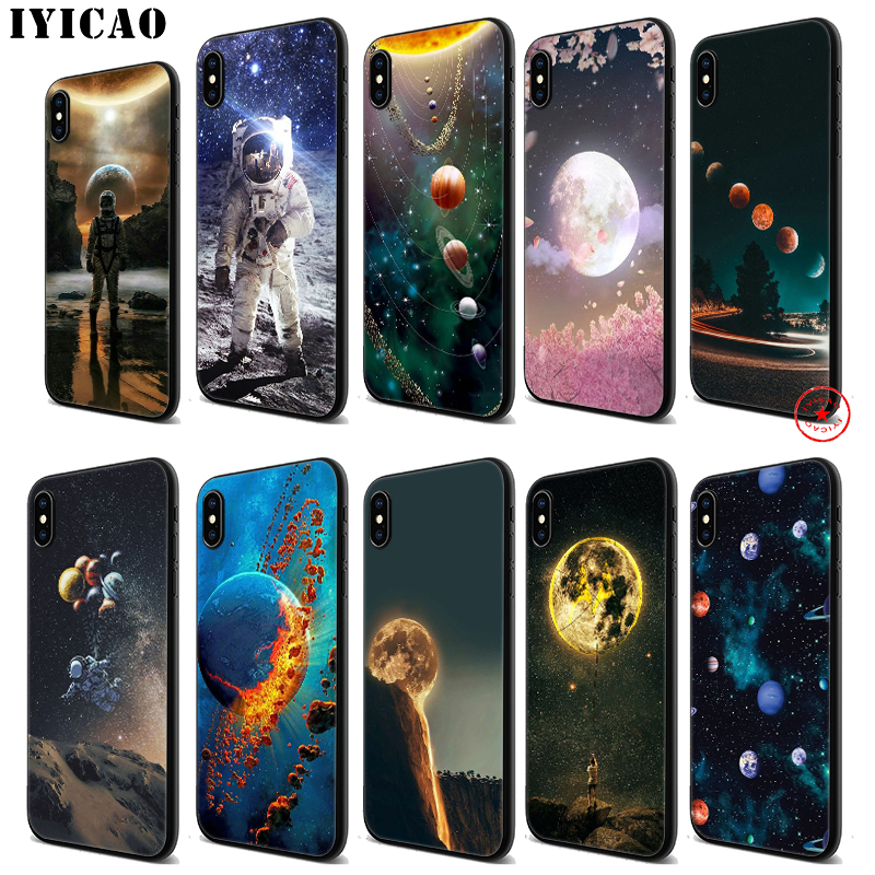 IYICAO Space Moon Soft Black Silicone Case for iPhone 11 Pro Xr Xs Max X or 10 8 7 6 6S Plus 5 5S SE