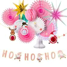 Gold Pink Christmas Decorations for Home Paper Star Santa Claus HO Garland Xmas Bell Snowman Elk Honeycomb Fans