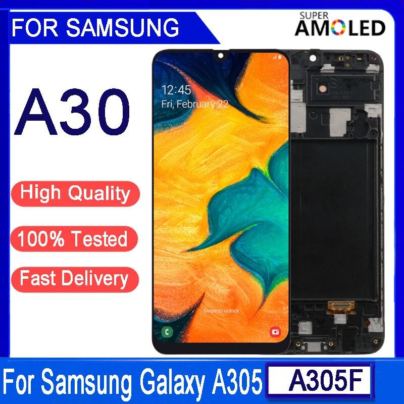 Оригинальный ЖК-дисплей AMOLED 6,4 дюйма для Samsung A30, ЖК-дисплей для Samsung A30 2019, A305, A305F, A305FD, ЖК-экран с сенсорным экраном и дигитайзером в сборе