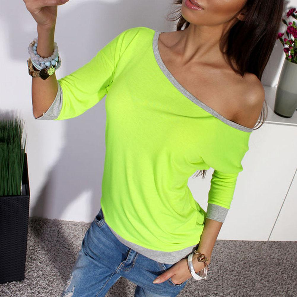 women Fashion <font><b>Hit</b></font> color T-Shirt <font><b>Sexy</b></font> Off-the-shoulder One Shoulder Cropped Sleeve Top Casual Slim Stretch Cotton Pullove image
