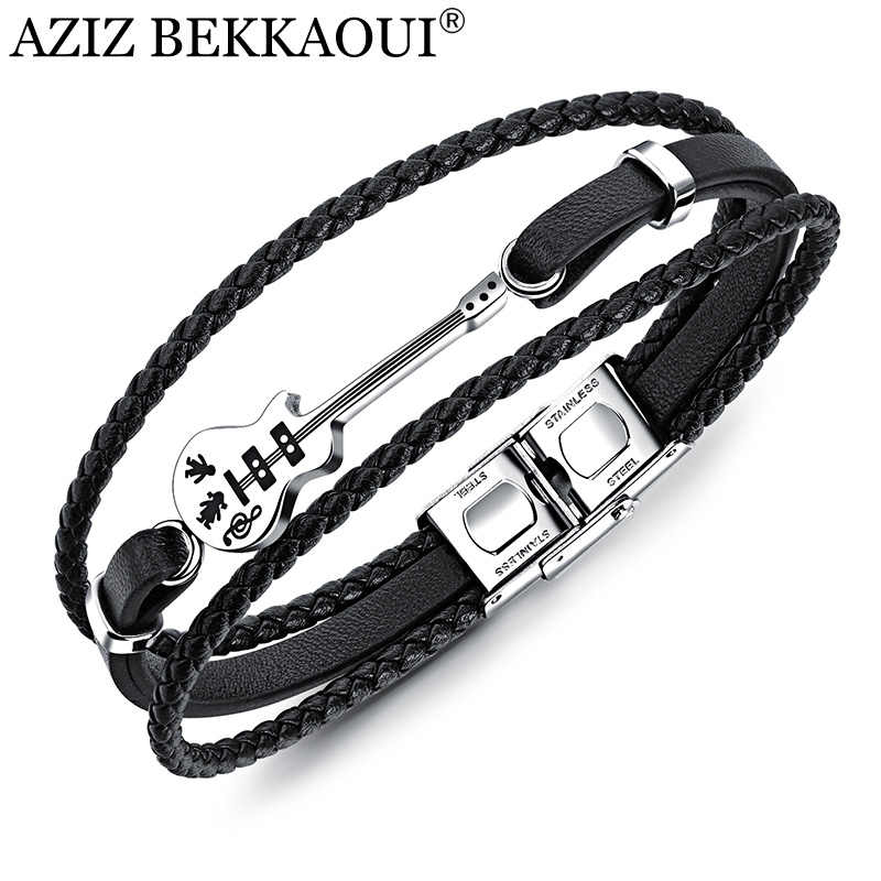 AZIZ BEKKAOUI Unique Stainless Steel Guitar Bracelets Customized Logo Leather Bracelet  for Men Rope Bangle Drop shipping