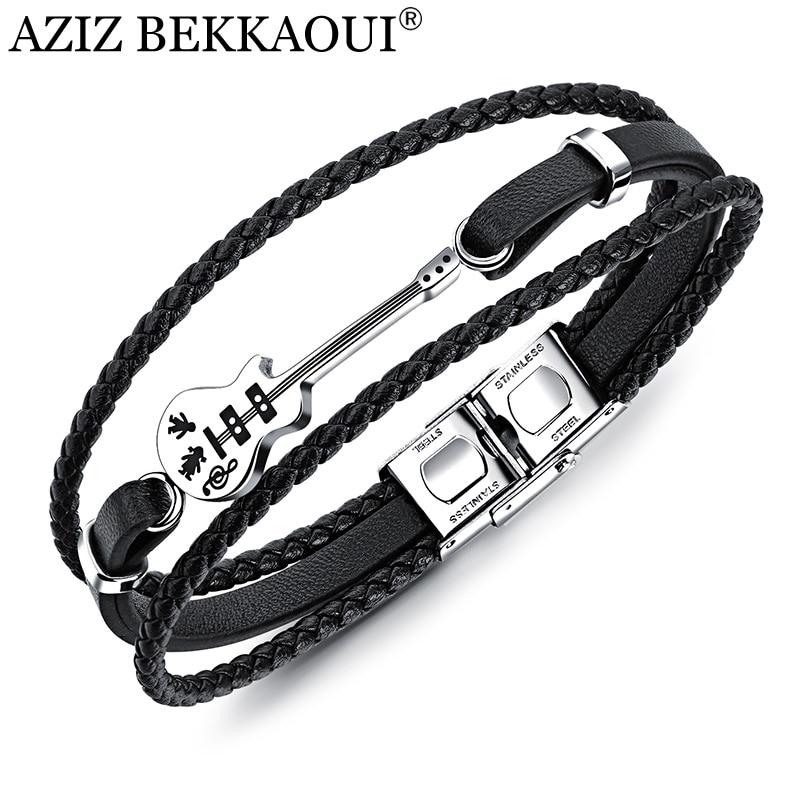 AZIZ BEKKAOUI Unique Stainless Steel Guitar Bracelets Fashion Logo Leather Bracelet  for Men Rope Bangle Drop shipping