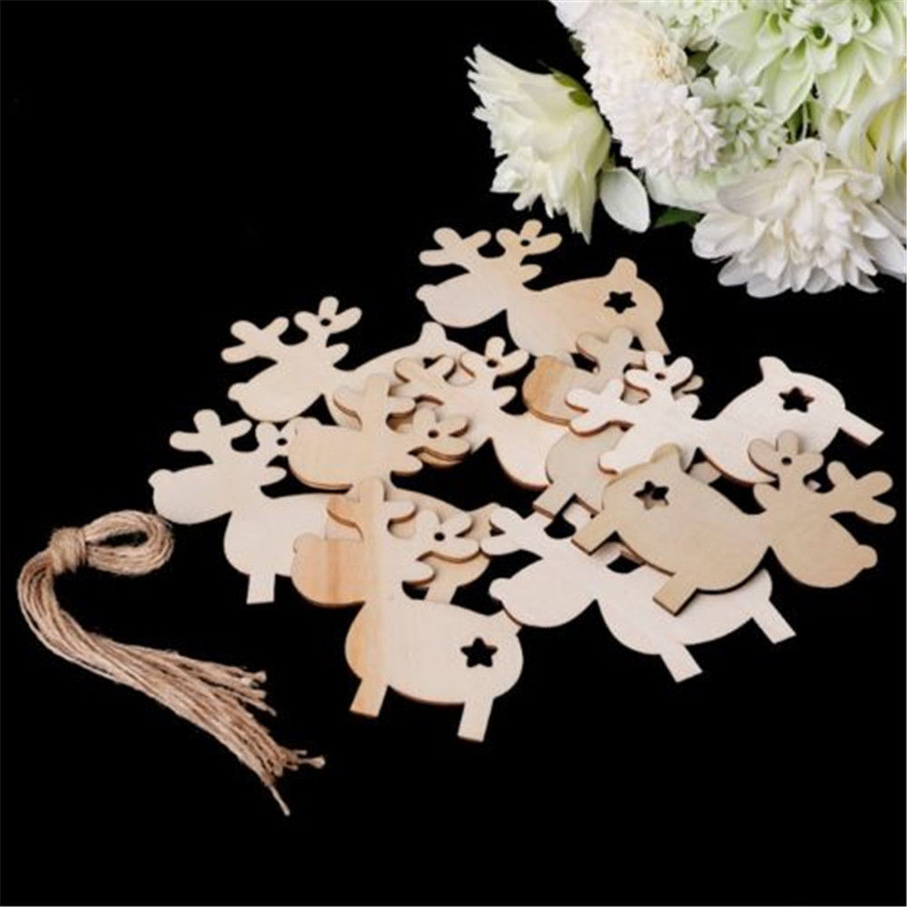 10pcs Cartoon Elk Wooden Round Baubles Tags Christmas Trees Decorations Ornaments Christmas DIY Craft Toys Gifs For Children