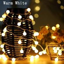 купить 10M 100LED /5M 50LED Ball Christmas Garland Light String Fairy Light Battery Powered  Waterproof Outdoor Indoor For Holiday Bedroom  Party New Year 's Wedding Decoration по цене 311.98 рублей