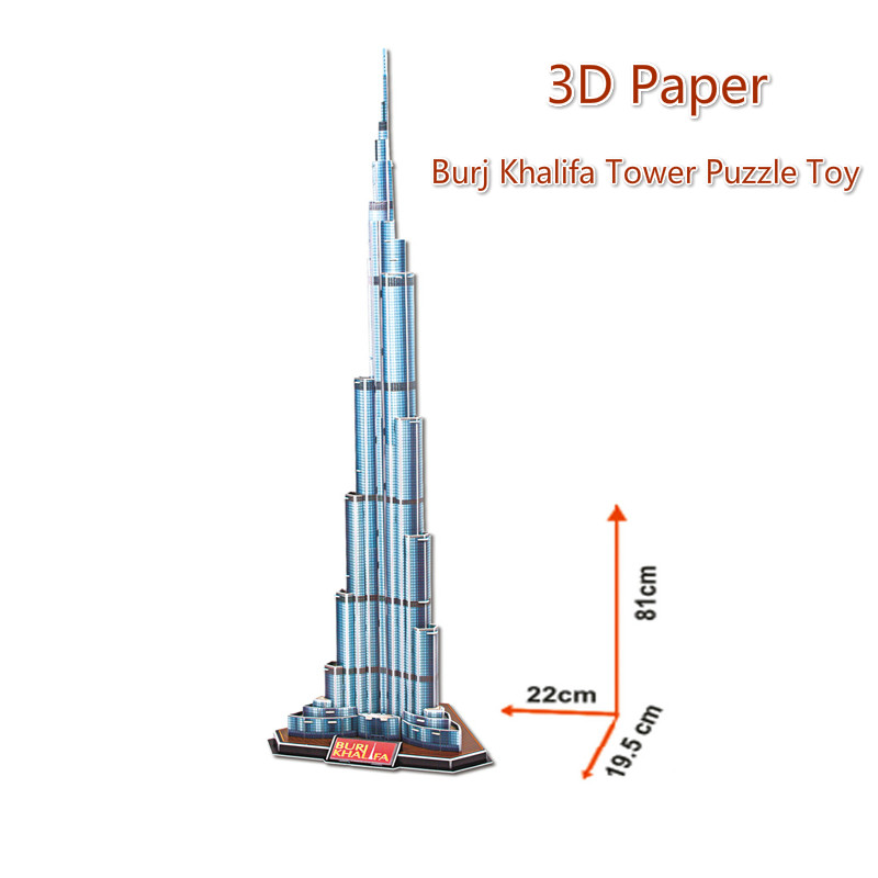 3D DIY Dubai Burj Khalifa Tower Model Puzzle Toy Children Education Learnig Toys For Gifts