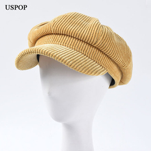 USPOP 2019 Women autumn caps vintage corduroy octagonal hat female newsboy solid color visor