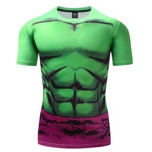 Hulk Spiderman Superman Batman kapitan ameryka T shirt 3D nadruk skompresowany t-shirty mężczyźni odzież sportowa z krótkim rękawem
