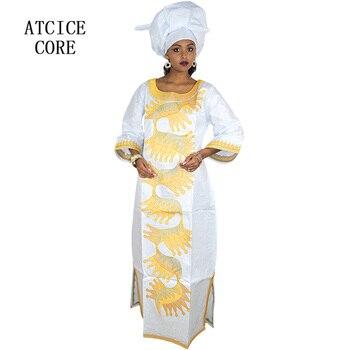 Afrykańskie stroje dla kobiet nowy afryki bazin riche haft projekt sukienka długa sukienka z szalikiem (duży duży rozmiar)