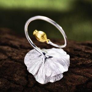 Image 3 - לוטוס כיף אמיתי 925 סטרלינג כסף מתכוונן טבעת בעבודת יד מעצב תכשיטים פריחת פרגים פרח טבעות לנשים Bijoux