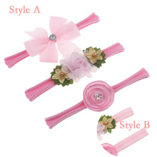 Childrens Elastic Nylon Bow Hairbands Artificial Flower Combination Headband Set Baby Hair Bands Accessories New