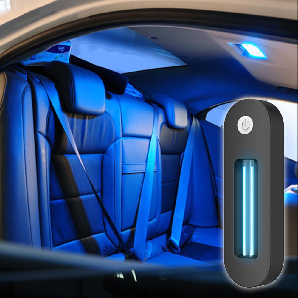 UV Disinfection Lamp Portable Quartz Ozone Vehicle UV Germicidal Lamp Automotive Interior Roof Charging Home Lamp Black