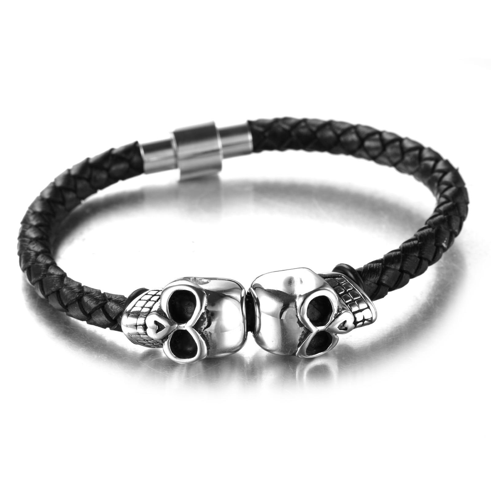 Bracelet viking en cuir véritable corde fermoir magnétique  4