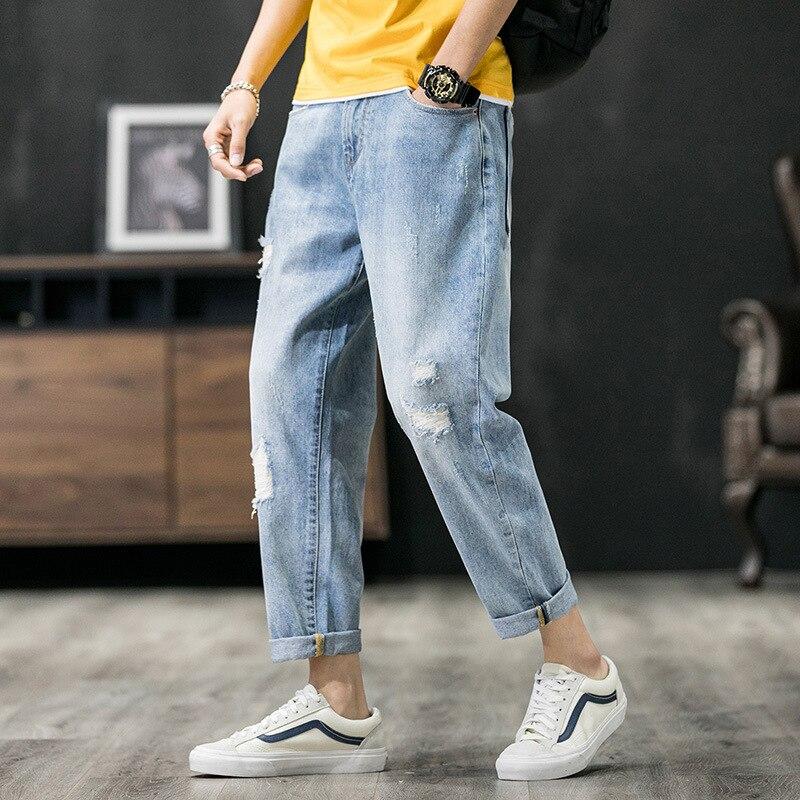 Korean Style Fashion Men Jeans Spring Summer Newly Designer Ripped Harem Pants Hombre Light Blue Streetwear Hip Hop Jeans Men