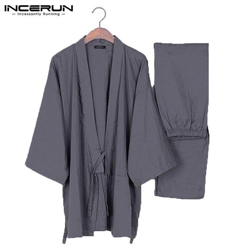 INCERUN Japanese Mens Pajamas Sets Kimono Loose Male Robe Short Sleeve 2Pcs/Set Sleepwear Cotton Comfortable Pajamas Bathrobes