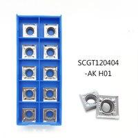 Ferramentas de torneamento de alumínio  ferramentas de torneamento de alumínio scgt120404 ak  lâmina de carboneto scgt 120408 cnc  cortador de torno  alumínio  cobre e madeira com 10 peças