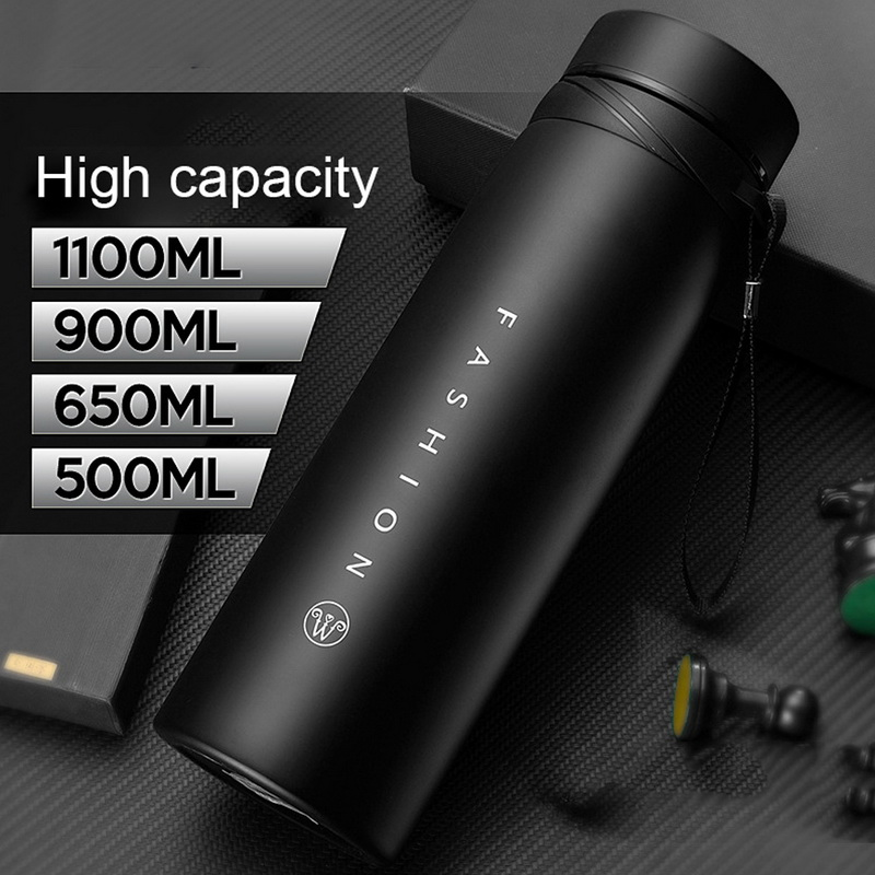 Stainless Steel Vacuum Flask Portable Travel Thermos Mug Cup Insulated Water Bottle For Coffee 500/650/900/1100ml