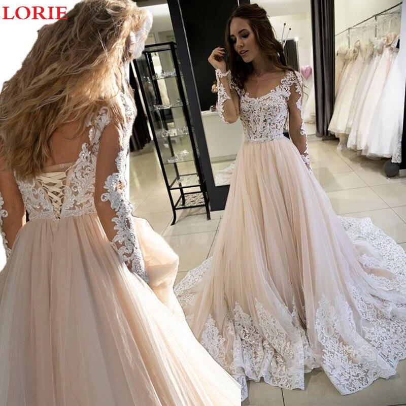 Lorie A Line Wedding Dress Champagne Vestido De Novia Long Sleeve Boho Bride Dresses Wedding Gowns Lace Up Back Custom Made