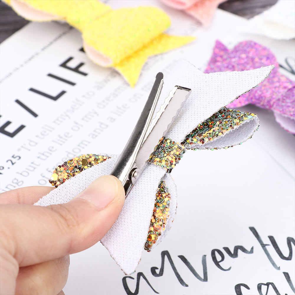 子供ファッションスパンコールちょう結びヘアクリップカラフルな甘い女の子二重層グリッターの弓のヘアピンバレッタヘアアクセサリーギフト