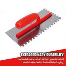 28x12cm enlucido espátula de acabado hoja de acero con mango de plástico ABS dentado cuadrado 12x12mm acabado