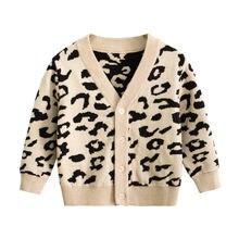 Трикотажное хлопковое пальто с леопардовым принтом для мальчиков