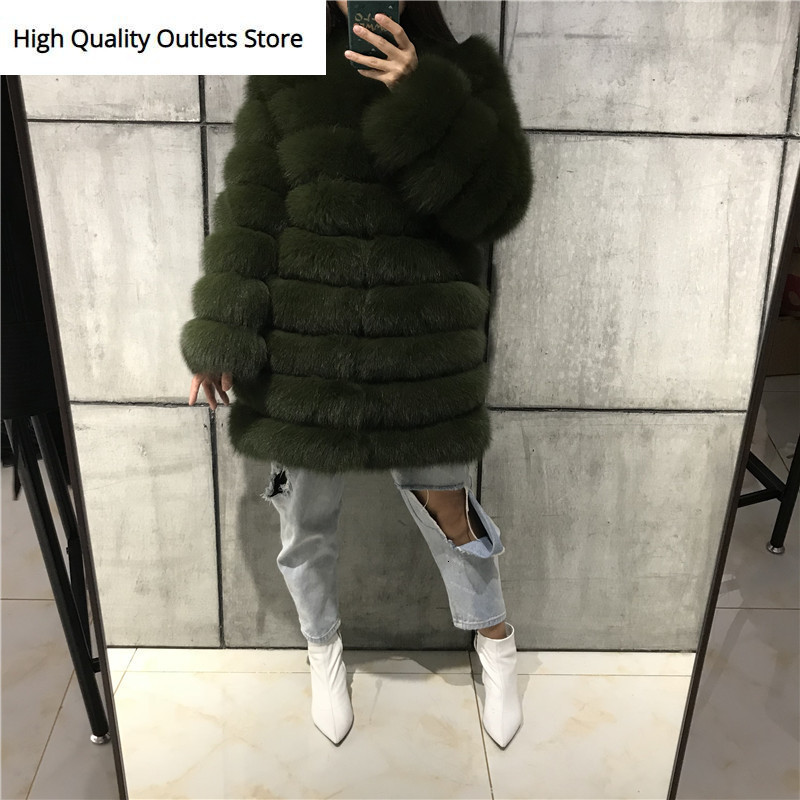 Ladies' Natural Fur Coat Women Real Fur Coat Quality Fox Fur Coat