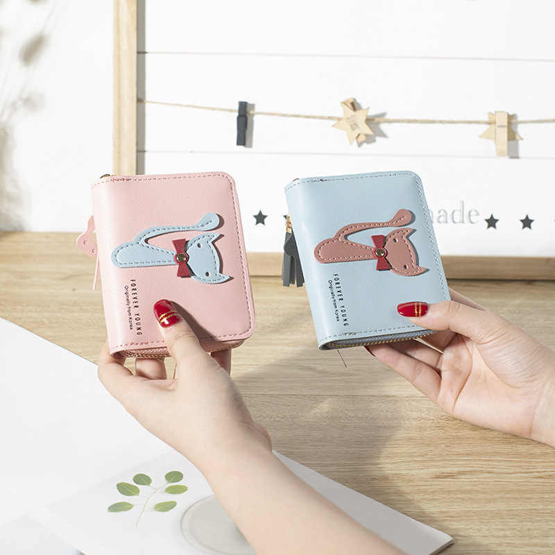 Women Lovely Mini Wallets Lady Short Moneybag Tassels Zipper Cat Coin Purse Card ID Holder Billfold Woman Wallet Burse Flap Bags