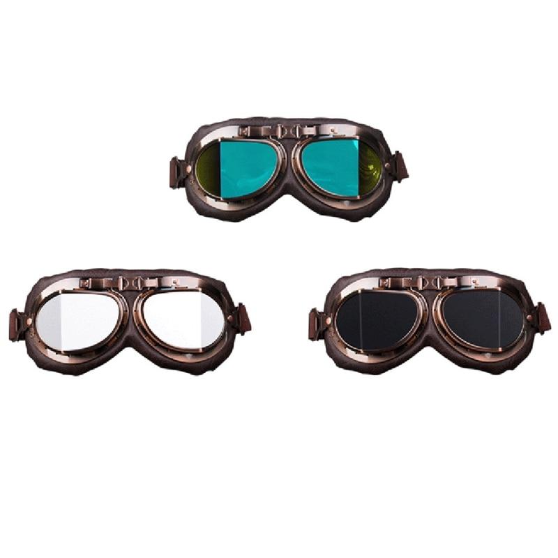 Motorcycle Biker Motocross Retro Vintage Aviator Pilot Goggles Glasses Driving