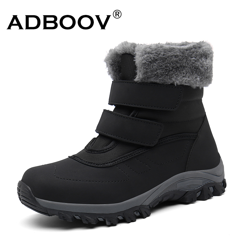 ADBOOV Waterproof Fall Women Boot Fur Lined Hook And Loop Warm Winter Hiking Shoe Black Ankle Snow Lady Boot Botas Mujer image