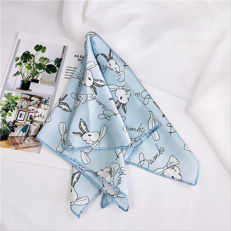 Luxury Brand Silk Scarf Square Women Shawls And Wraps Fashion Rabbit Print Office Small Hair Neck Hijabs Foulard Gift For Girl