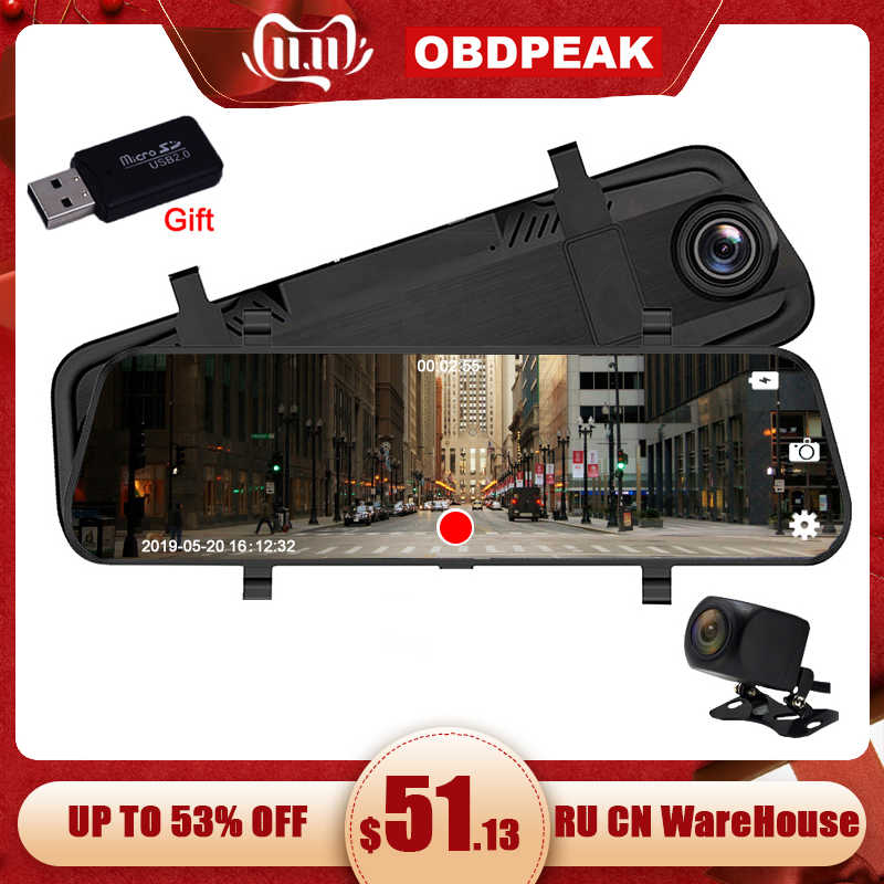 10 Inci Mobil Cermin Layar Stream Media Kaca Spion IPS Sentuh Layar FHD Dash Cam Registrar Perekam Video DVR DASH kamera