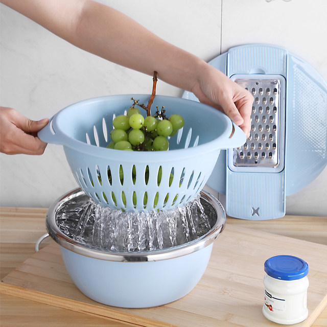 1pc Stainless Steel Kitchen Multifunctional Chopper Manual Fast Wire Cutter Double Layered Drain Basin And Basket Kitchen Tools