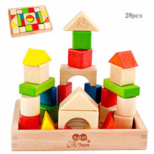 Free shipping 28pcs Beech color / wood building blocks toys, Wood Shape cognitive blocks, Early education wooden children's toys wooden block colorful blocks education wood building and 48pcs chopping blocks for child learning shape