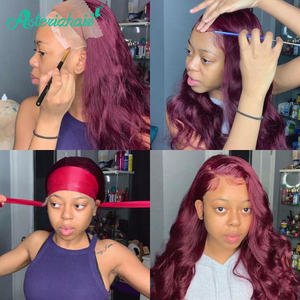 Asteria Body Wave 99J Lace Frontal Human Hair Wigs For Black Women Brazilian Burgundy Lace Frontal Wig Pre Plucked Remy Hair