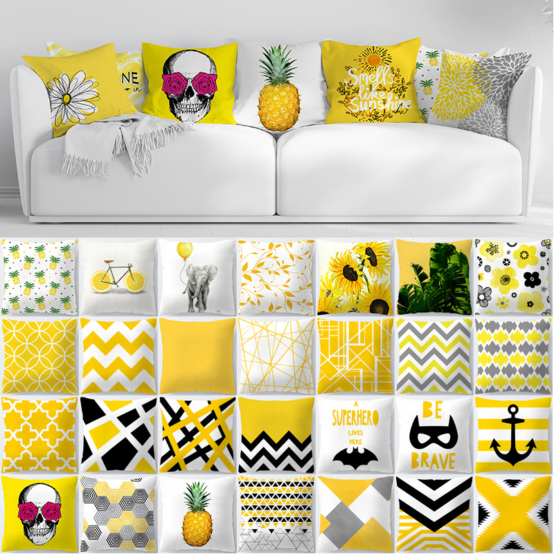 Summer Pineapple Leaf Flower Print Customized Cushion Cover Geometry Yellow Skulls Throw Decorative Pillowcase 45x45 Home Decor