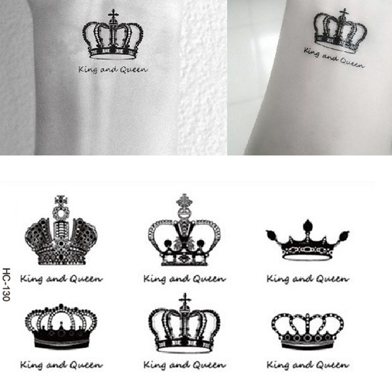 Waterproof Temporary Tattoo Sticker Royal Crowns Wrist Finger Fake Tattoos 2pcs King And Queen Tatto Stickers Sexy Lady Body Art
