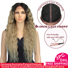 цена на Magic Hair 30 Inch Ombre Kinky Curly Synthetic Lace Front Wig For Black Women Heat Resistant Synthetic Wigs With Baby Hair