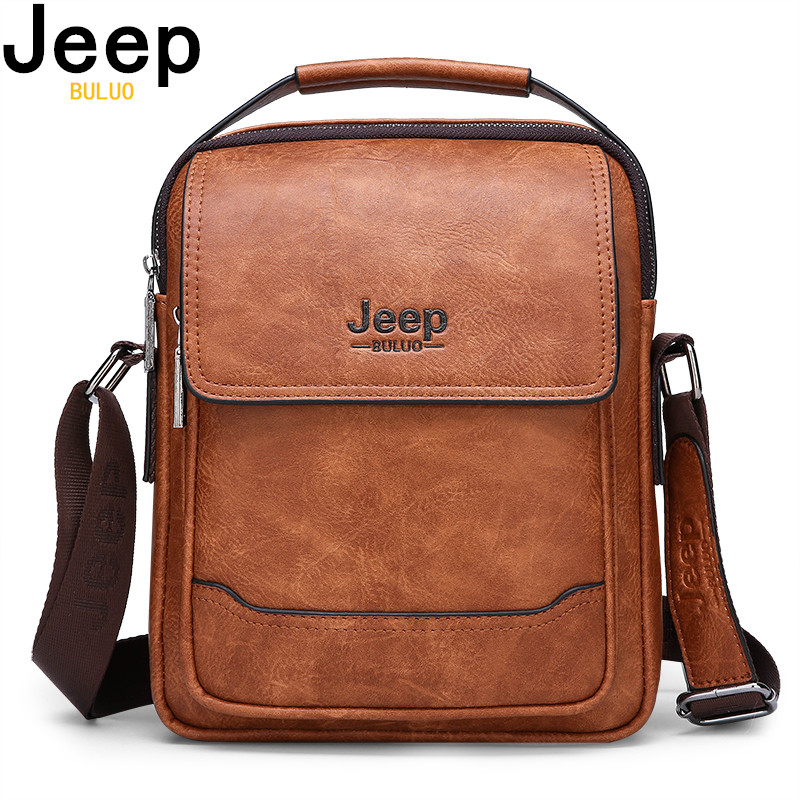 JEEP BULUO Brand Men Bags 100% High Quality Leather Shouder Messenger Bag For Man Fashion Causal Crossbody Tote Bags New Style
