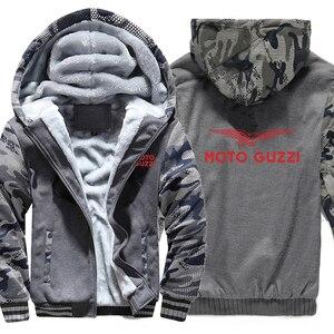 Image 5 - Moto Guzzi bluzy z kapturem kamuflaż rękaw kurtka z kapturem na zamek zima polar Moto Guzzi bluza