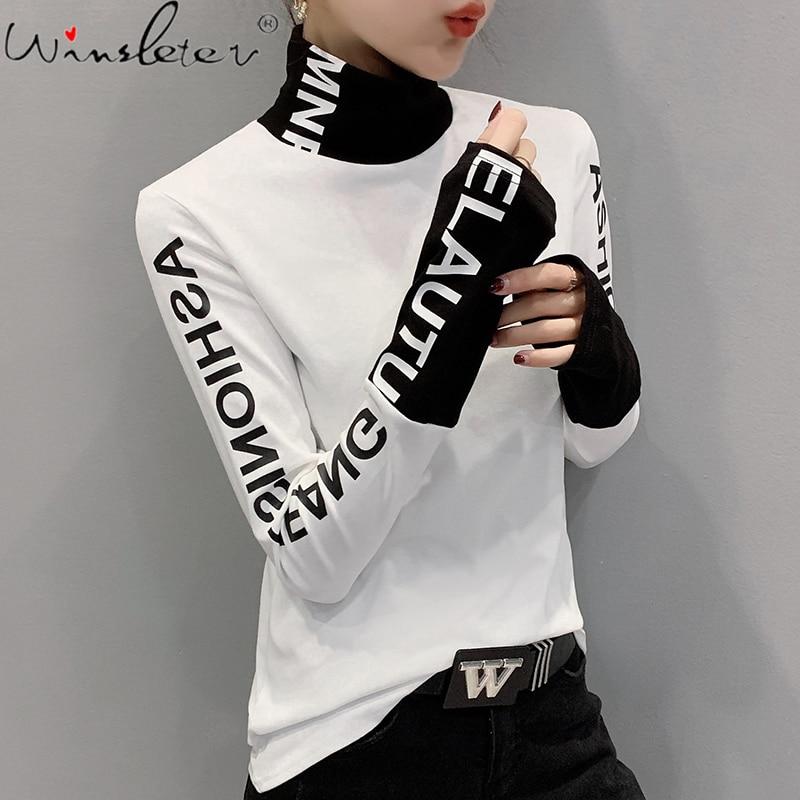 Осенне-зимняя европейская одежда, футболка с надписью шикарное лоскутное, толстые топы из хлопка с длинным рукавом и начесом, новинка 2021, фу...