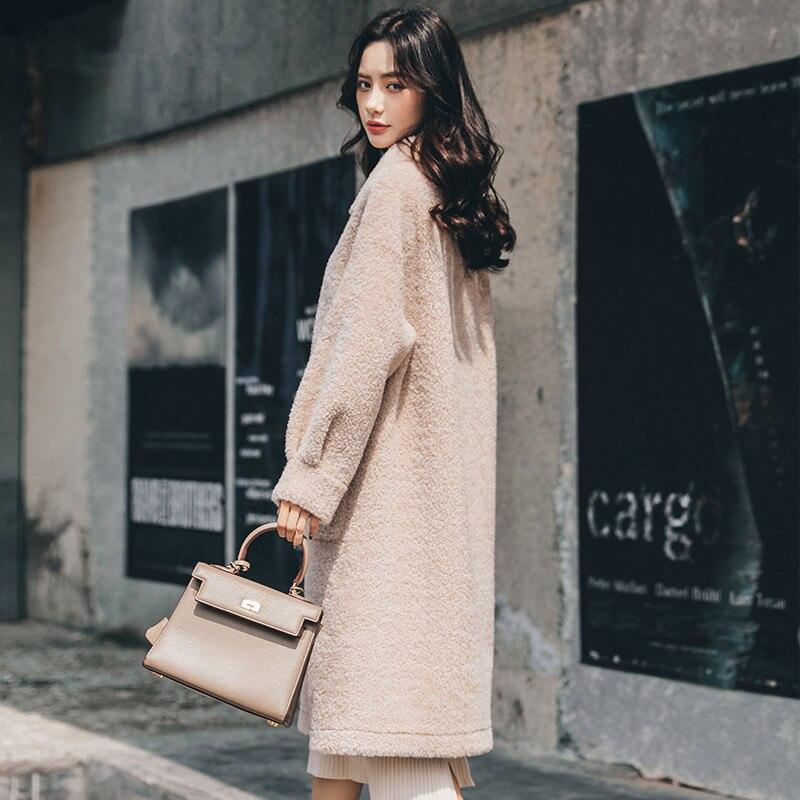 Shearling Sheep Real Fur Coat Female 100% Wool Coats 2020 Winter Jacket Women Korean Long Jackets Chaqueta Mujer MY4163 S S
