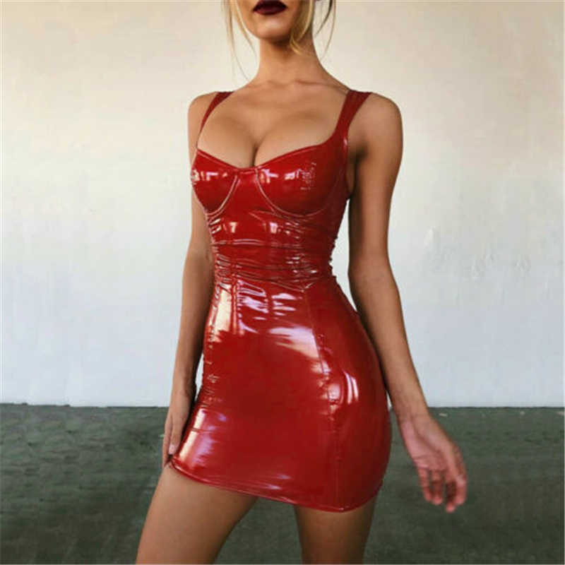 2019 Sexy Backless Club Pesta Pendek Gaun Solid Basah Hitam Yang Terlihat Lateks Bodycon Faux Kulit Push Up Bra Mini Mikro gaun Leotard