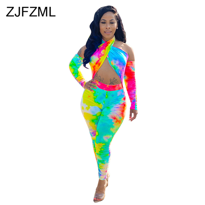 Waist Band Cut Out Sexy Bodycon Bodysuits Women Rainbow Tie Dye Print Full Sleeve Jumpsuit Casual Off Shoulder Backless Rompers