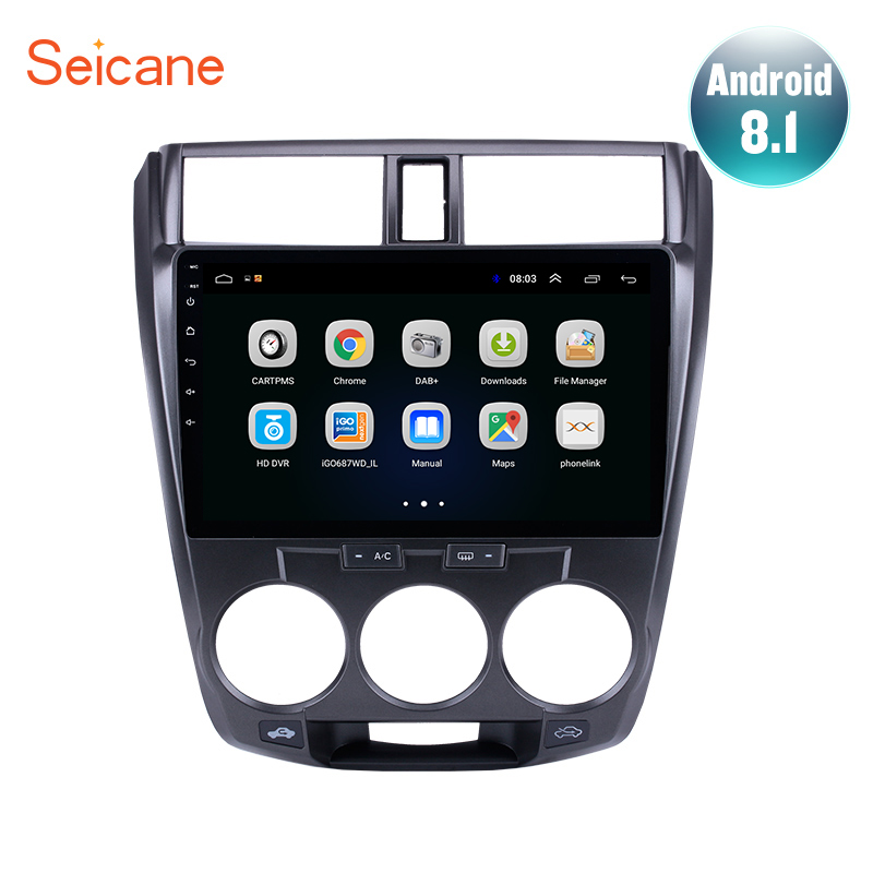 <font><b>Seicane</b></font> Android 8.1 for 2011-2013 2014 2015 2016 <font><b>Honda</b></font> <font><b>CITY</b></font> 2DIN 10.1